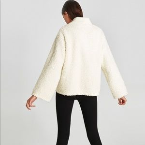 White Furry Sweater With V Neck, NWT
